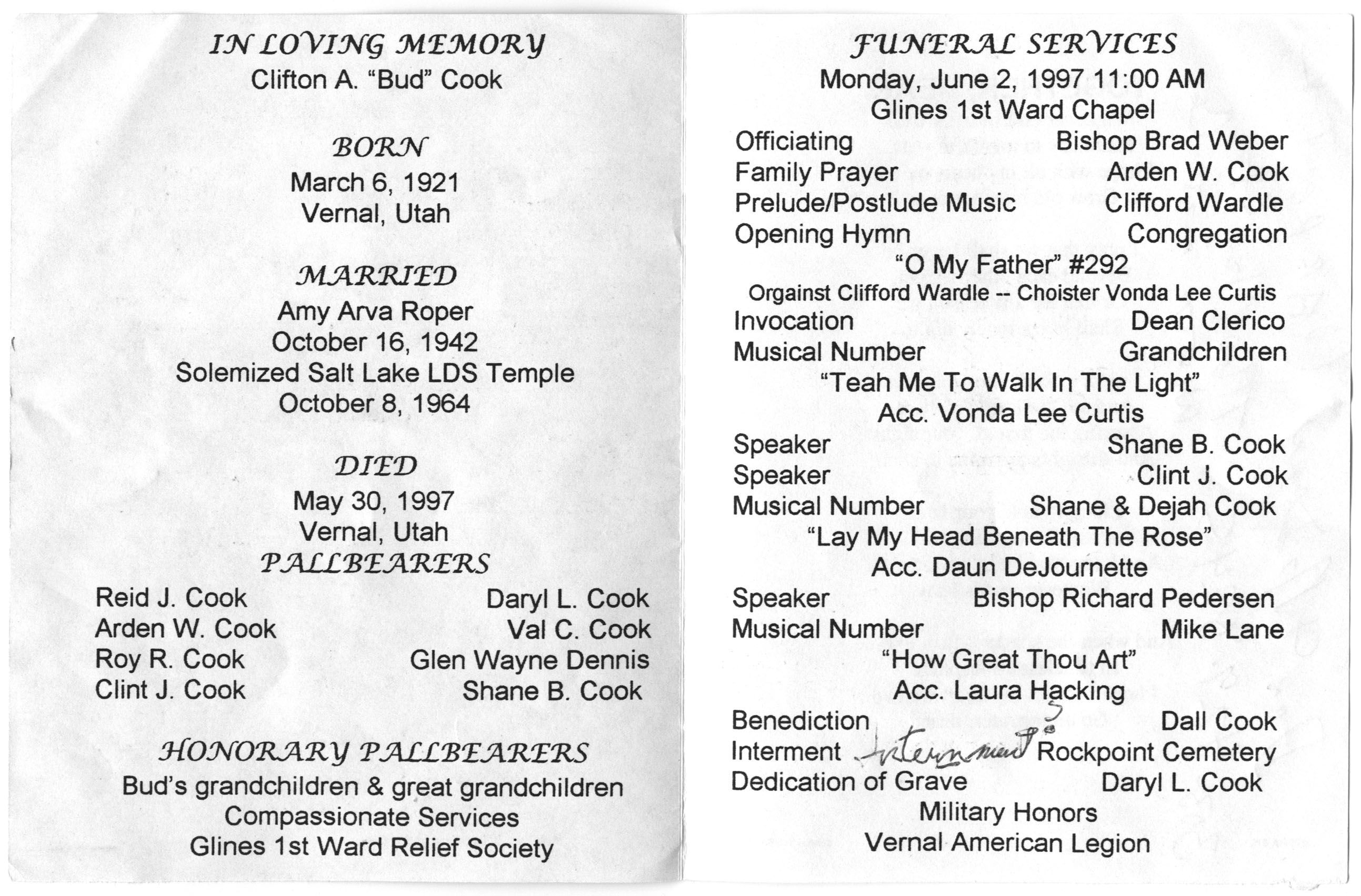 clifton a bud cook funeral program family preserves