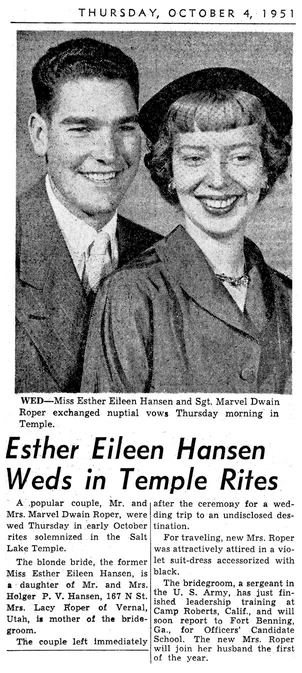 Wedding Announcements Newspaper.Marv Esther Roper Newspaper Wedding Announcement Family