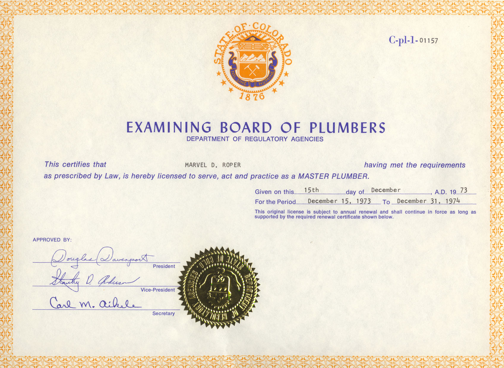 State Of Colorado Master Plumber Certificate Family Preserves