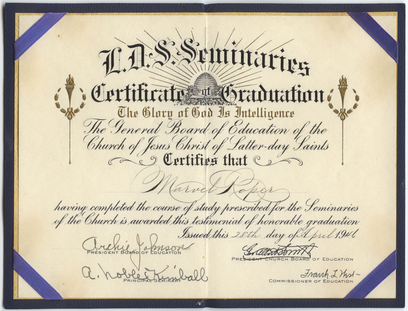 Seminary certificate of graduation family preserves certificate of graduation the glory of god is intelligence the general board of education of the church of jesus christ of latter day saints certifies that xflitez Images