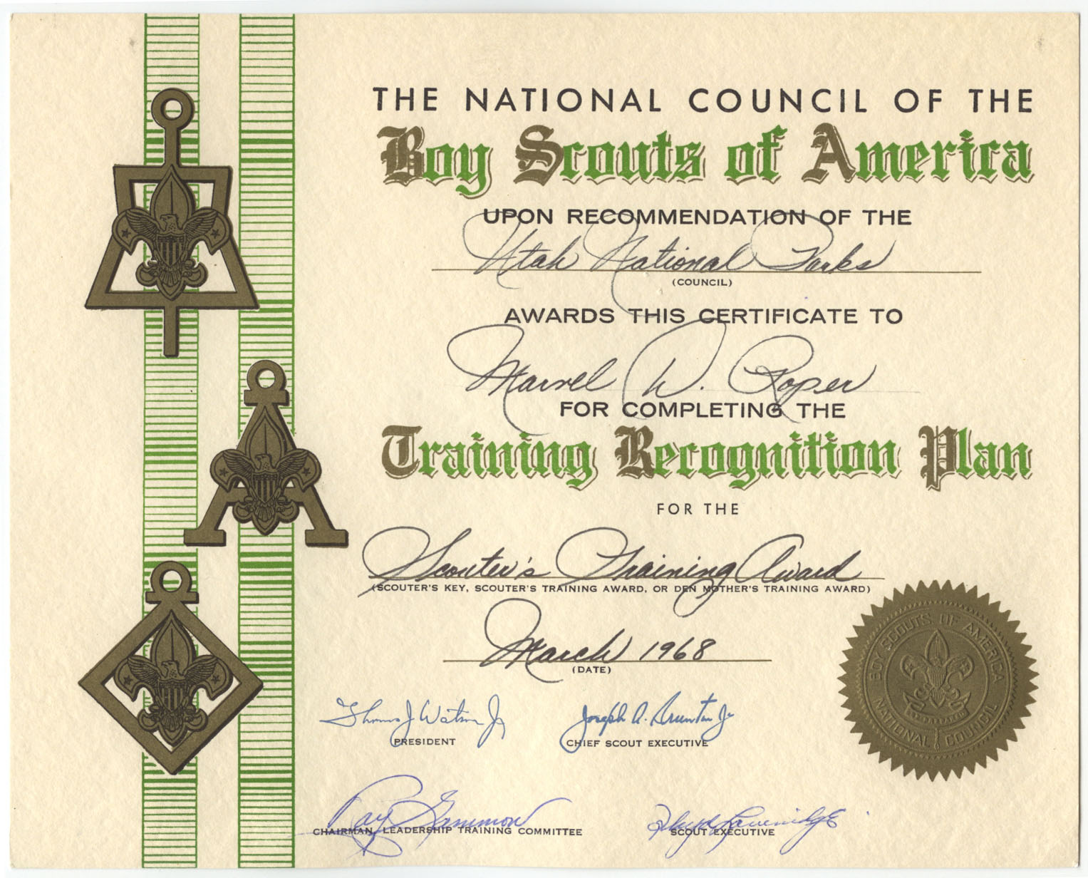 Marv roper boy scout training certificate family preserves marv roper boy scout training certificate yadclub Choice Image