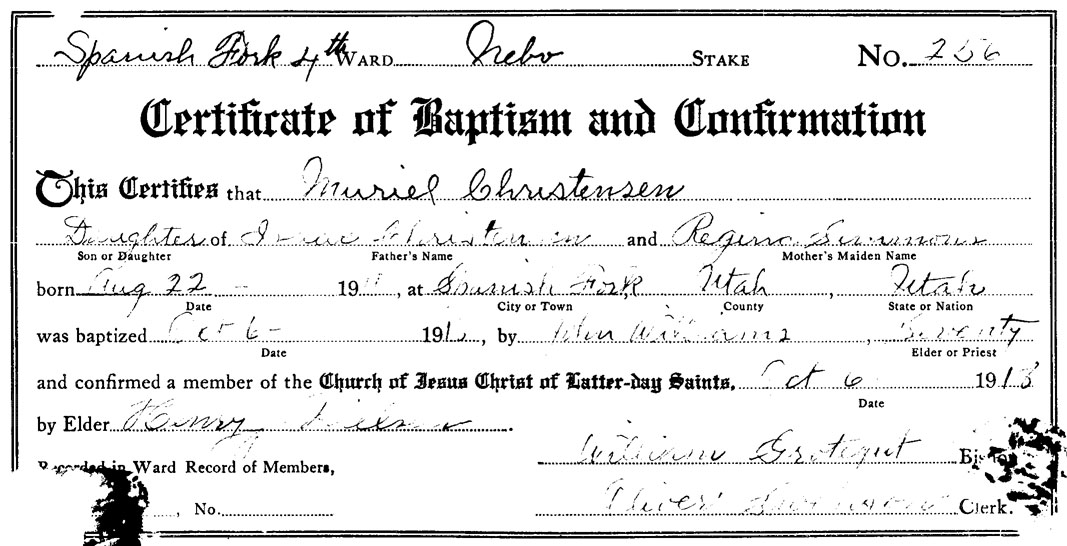 Muriel Christensen Harding Baptism Certificate  Family Preserves