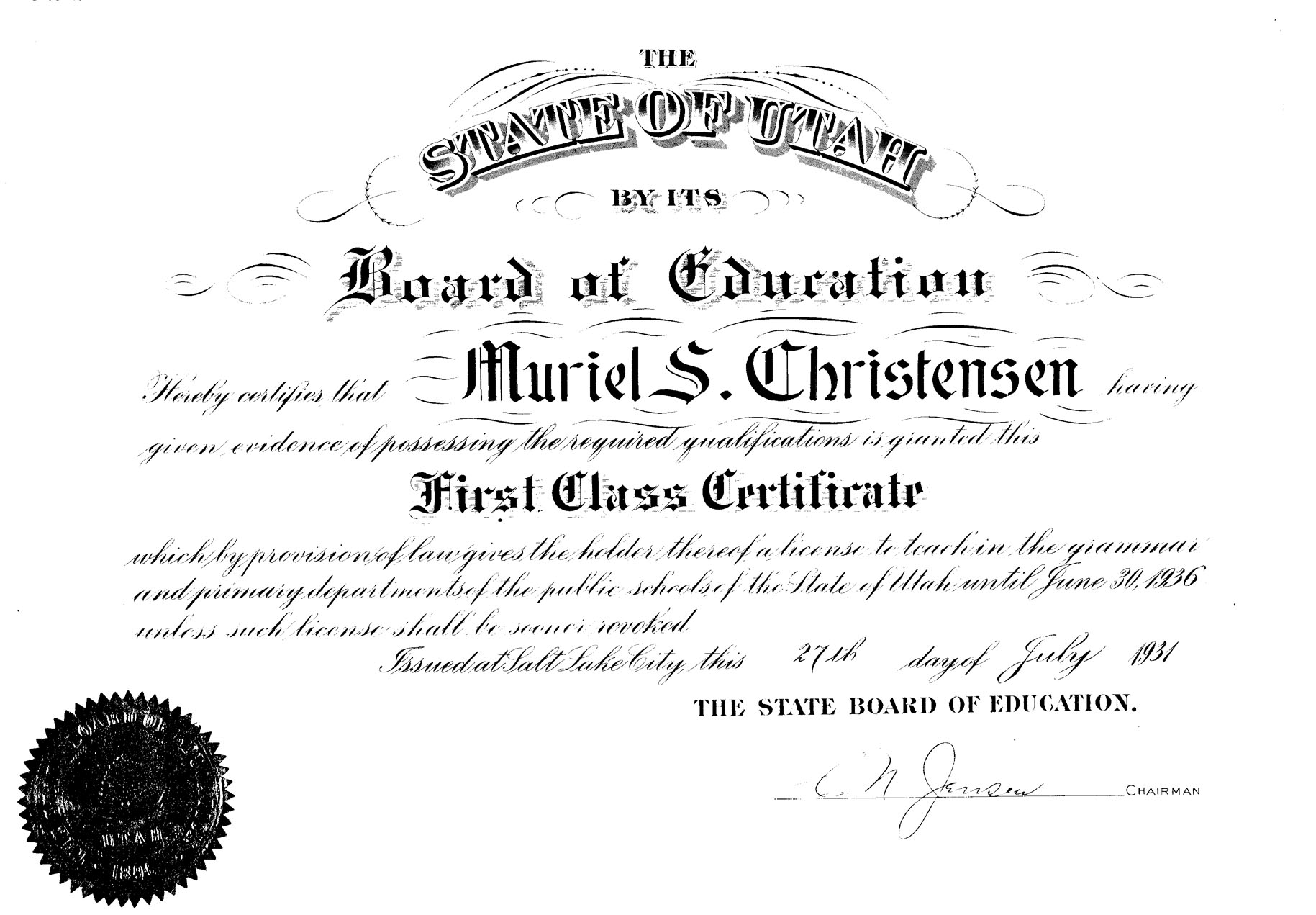 certificate teaching muriel